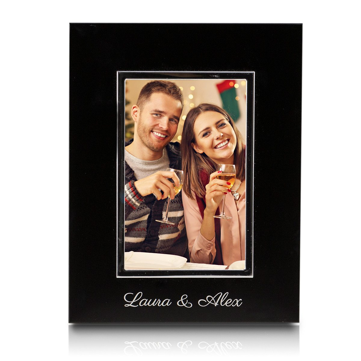 BLACK PHOTO FRAME WITH ENGRAVING