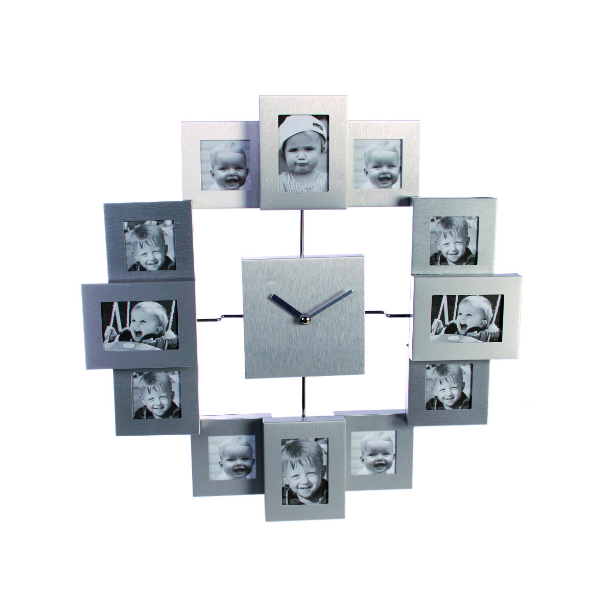 Metal wall clock w/ 12 picture frames