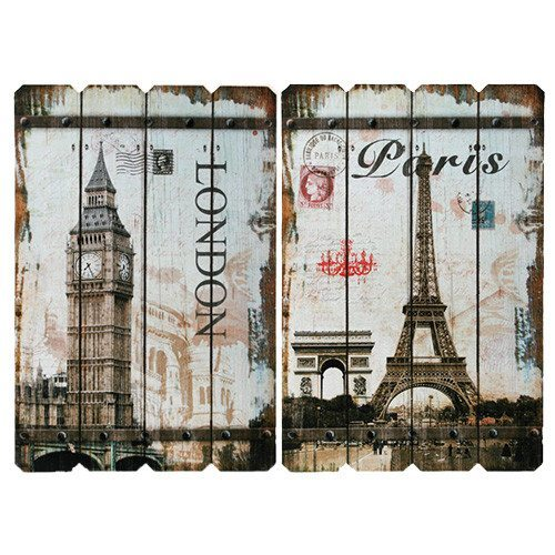"Vintage-Holzschild ""Paris""/""London"""