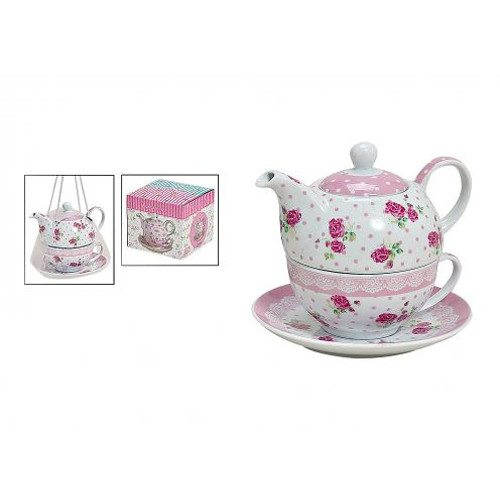 set de té original rosas