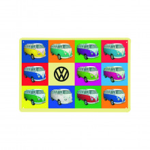 Blechschild in Pop Art VW Bulli