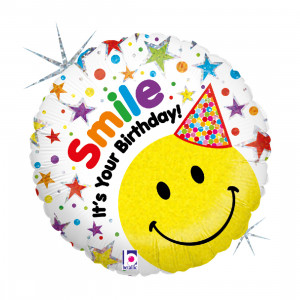 "HAPPY BIRTHDAY SMILEY HUT 46 CM/HUT 18"" HOLO"